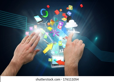 Hands pointing and presenting against dollar sign on futuristic background