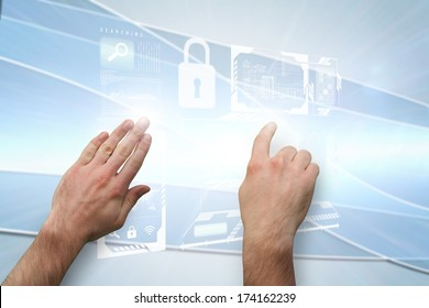 Hands pointing and presenting against linear grey background