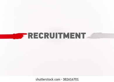 Hands pointing RECRUITMENT word