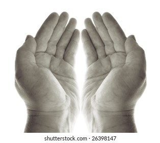 hands pray or beg for charity or blessing. hand palms in black and white receiving