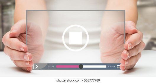 Hands presenting against classroom 3d