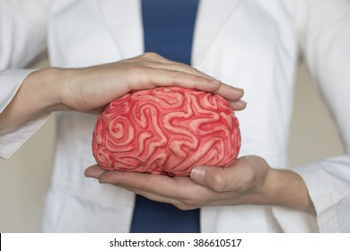 Hands protect a brain. Neuromanagement,mindfulness
