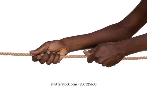 Hands pulling a rope isolated on white background