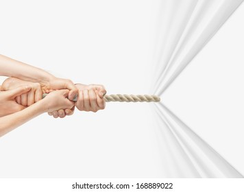 hands pulling rope on a white background
