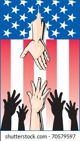 Hands Reaching is an illustration of several hands reaching up for help while another hand is reaching down through an American Flag to offer help from the United States Government.