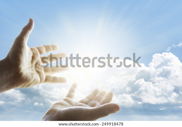 Hands reaching for the sky