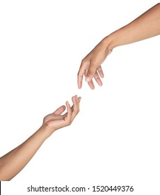Hands reaching toward each other isolated on white background, Clipping path.