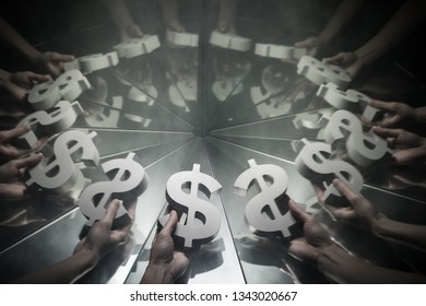 Hands Reaching for US Dollar Currency Symbol on Mirror Covered In Smoke With many Reflections of Itself