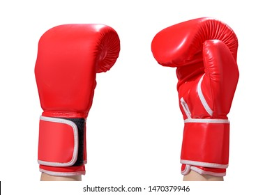 Hands with red boxing gloves isolated over white background