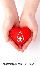 Hands and red heart - blood donation,world blood donor day