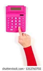 Hands in red jacket and red calculator on white background