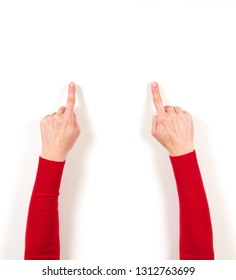 Hands in red jacket and gestures on white background