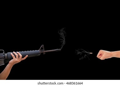 hands with rifle shoot at the fist, violence concept, protester concept.