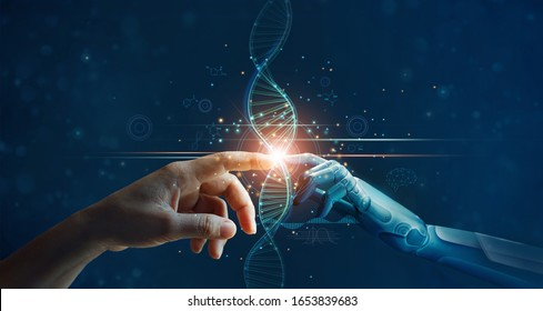 Hände von Robotern und Menschen berühren DNA-Verbindung in virtuellen Schnittstellen über die Zukunft, Wissenschaft und Innovation, Konzept der künstlichen Intelligenz-Technologie.
