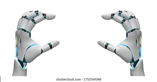 Hands of a robot or humanid robot (KI) grips, isolated on white background.