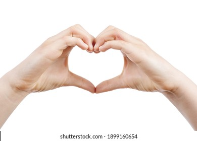 hands of a romantic caucasian teenager girl forming a heart on white isolated background
