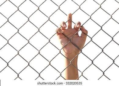 hands Sad  lack of freedom,despair concept. White background