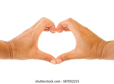 Hands in shape of heart isolated on white background