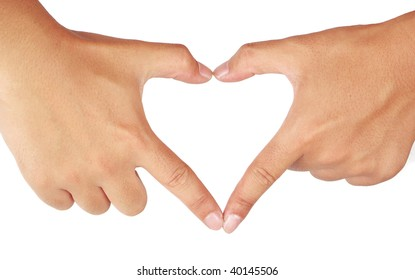 Hands shaping a heart. Isolated on white background.
