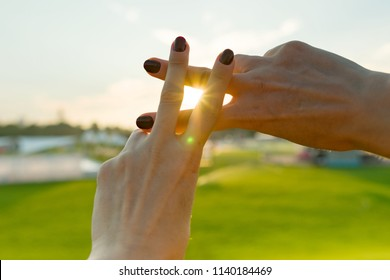 Hands show gesture symbol hashtag is viral, web, social media, network. Background is sunny urban sunset, concept for marketing, trending, blogging and internet themes