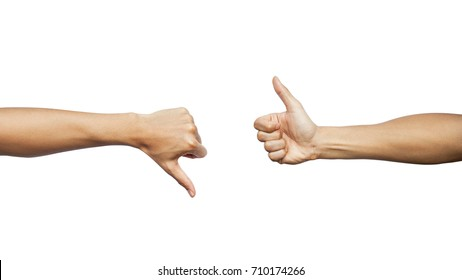 Hands showing different gesture thumb up and thumb down isolated on white background. Clipping path included