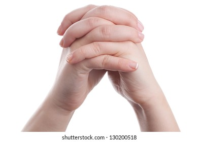 Hands showing a gesture on white background