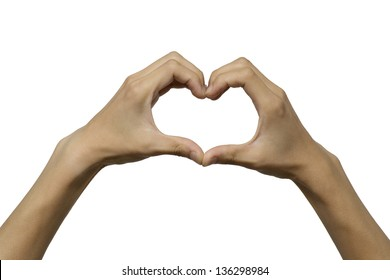 Hands showing love and heart shape with clipping path