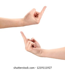 Hands showing rude gestures, isolated on white background