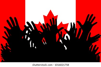 Hands up silhouettes on a Canada flag. Crowd of fans of soccer, games, cheerful people at a party. Vector banner, card, poster.