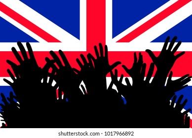 Hands up silhouettes on a Great Britain flag. Crowd of fans of soccer, games, cheerful people at a party. Banner, card, poster.