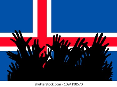 Hands up silhouettes on a Iceland flag. Crowd of fans of soccer, games, cheerful people at a party. Banner, card, poster.