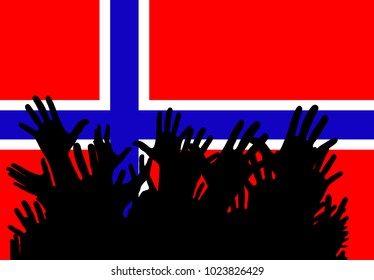 Hands up silhouettes on a Norway flag. Cheerful people at a party. Vector banner, card, poster.