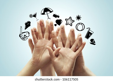 hands with smiles dream of travelling