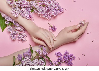 Hands and spring flowers are on a pink table skincare. Nature Cosmetics for hand skin care, a means to reduce wrinkles on hands, moisturizing. Natural cosmetics from flower extract, beauty and fashion