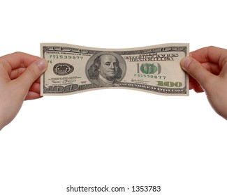 Hands Stretching $100 Bill on White Background