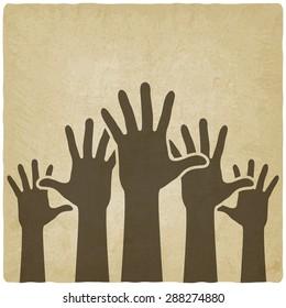 hands up symbol old background - illustration