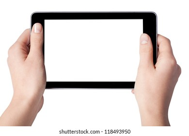 Hands with tablet computer isolated on white background