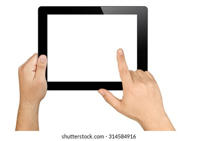 hands tapping on tablet pc in landscape orientation with blank white screen isolated