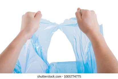 hands tearing a plastic bag, recycle concept