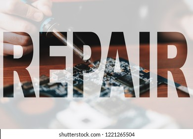 Hands of a Tech Soldering the Mobile Phone Circuitry. Smartphone Repair. Cell Phone Warranty Service. Hardware Maintenance. Microchip Soldering with Iron. Concept of Professional Technical Repair.