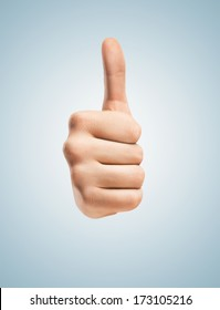 hands with thumbs up isolated on blue