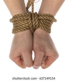 hands tied with a rope on white background