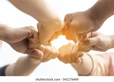 Hands Together Concept. Group of Business People Unite Power of Teamwork With Friendship. Circle Hands Together Union Business Colleagues With Unity Community Team. Friendship joined Workgroup