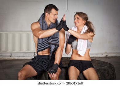 Hands together - fitness team after training - high five