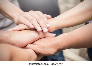 hands together. Support, teamwork, togetherness concept