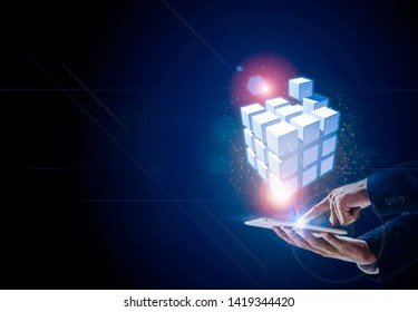 Hands touch to network technology box 5G are linked together to form a covered all on world