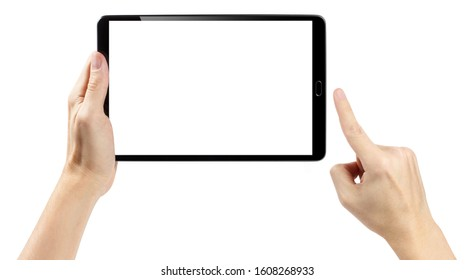 Hands touching black tablet screen, isolated on white background