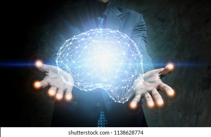 hands touching brain, innovative technology in science concept.