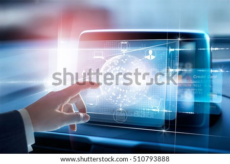 Hands touching circle global network connection and icon customer on virtual screen , Omni Channel and online payment