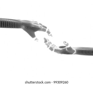 Hands touching each other. 3d render isolate on white background.